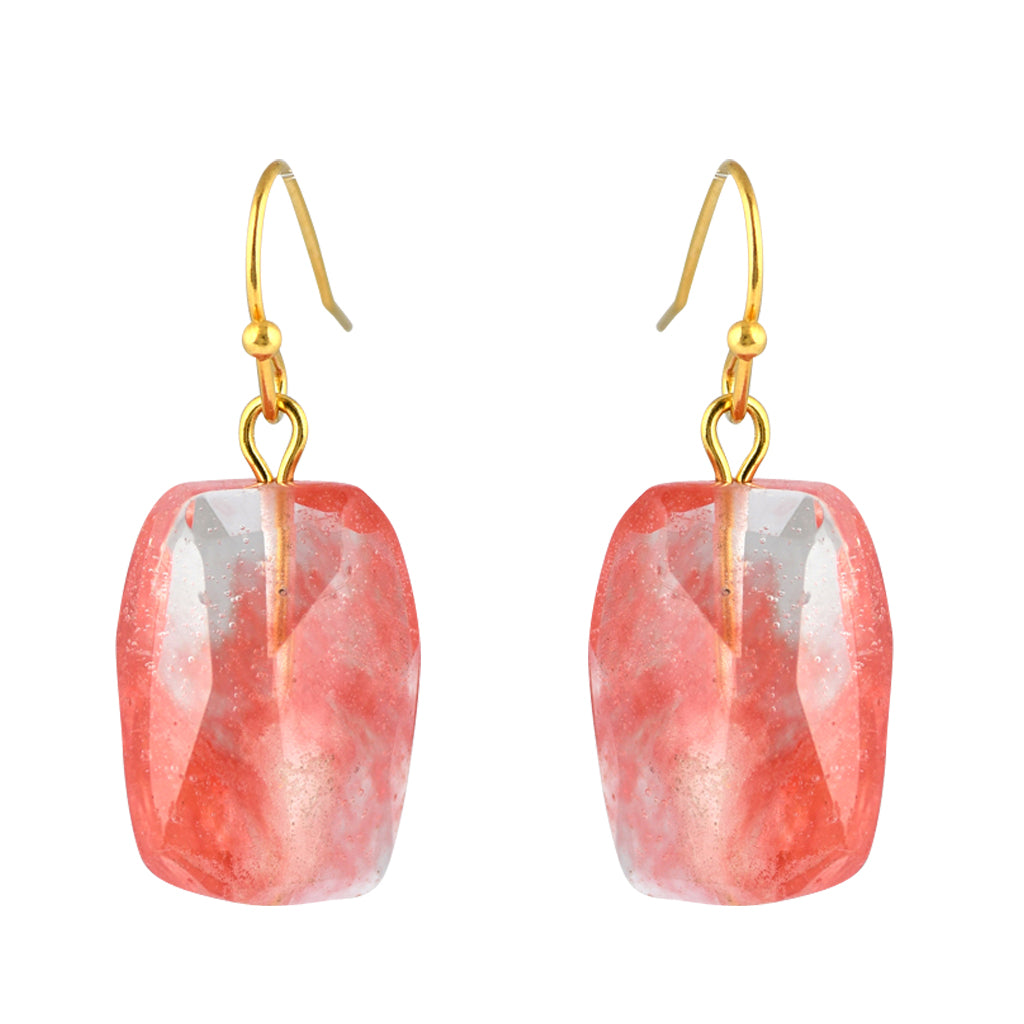 Susan Shaw Jewelry Square Rose Stone Earrings in Gold