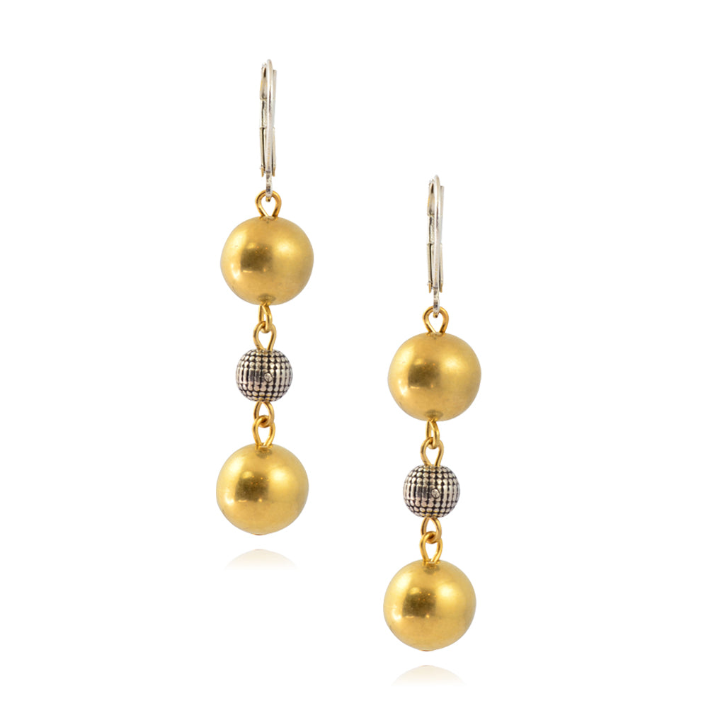 Susan Shaw Goldtone Bead Dangle Earrings