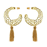 Susan Shaw Jewelry Moon Fila Tassel Earrings in Gold