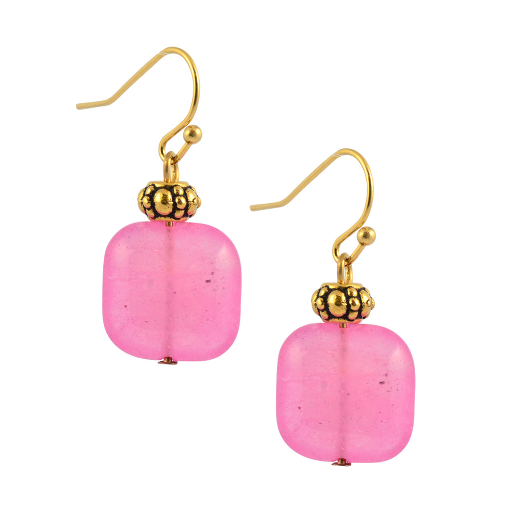 Susan Shaw Gold Plated Pink Bead Dangle Earrings
