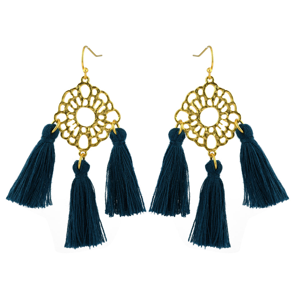 Susan Shaw Jewelry Ornamental Blue Tassel Earrings in Gold