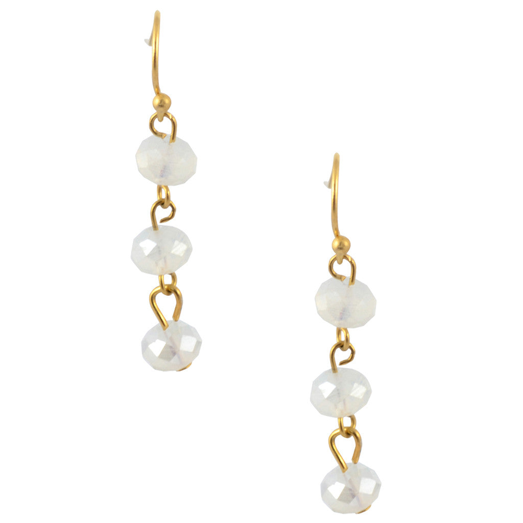 Susan Shaw Gold Plated Simple Bead Dangle Earrings