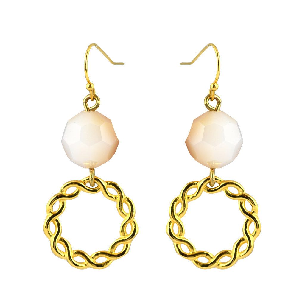 Susan Shaw Jewelry White Stone Dangle Earrings in Gold