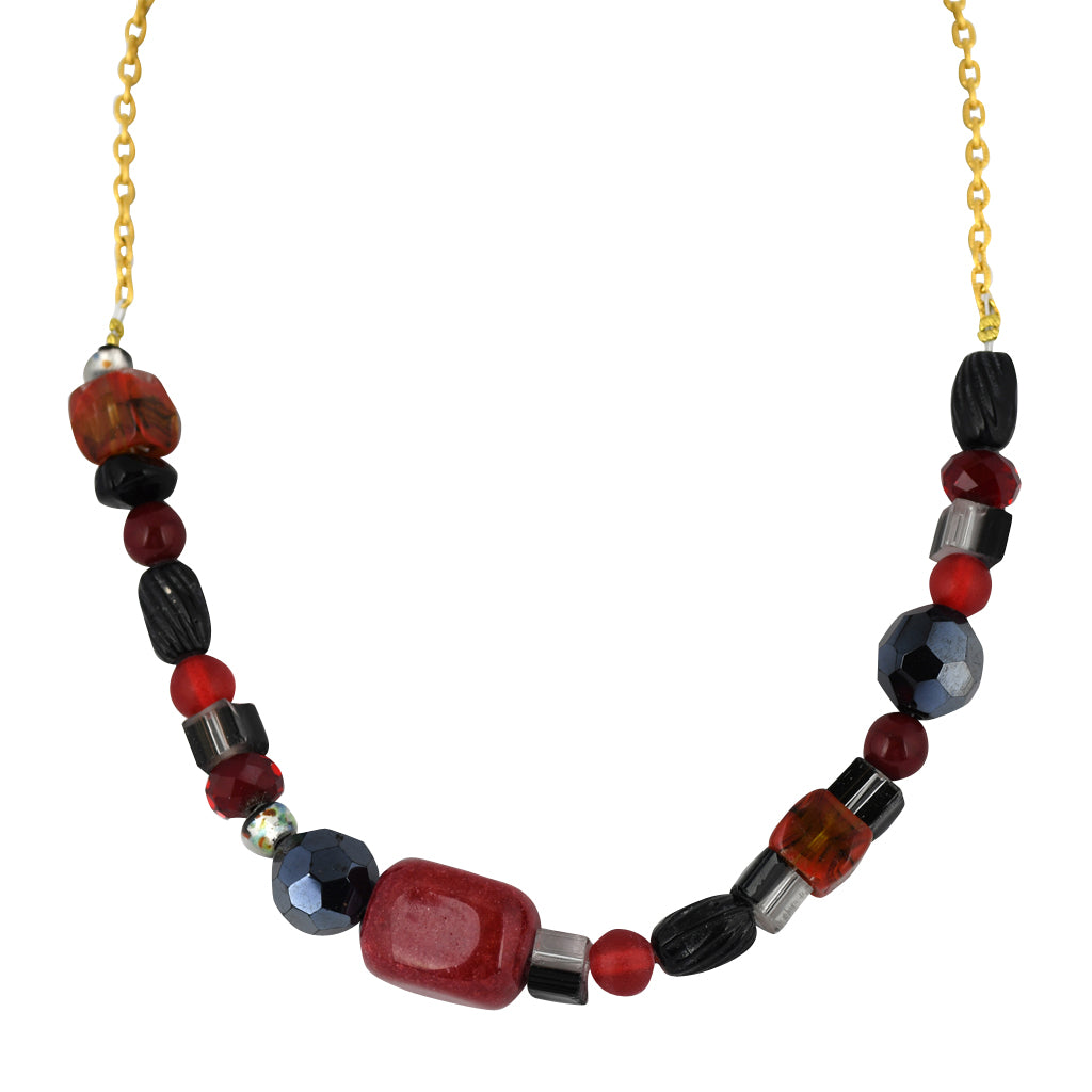 Susan Shaw Jewelry Red and Black Bead Necklace in Gold