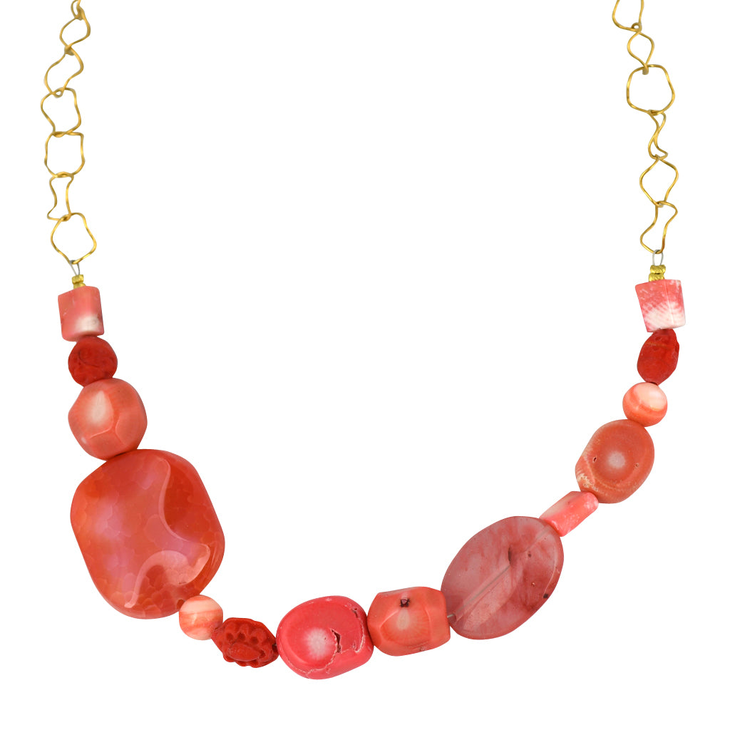 Susan Shaw Jewelry Coral Color Stone Necklace in Gold