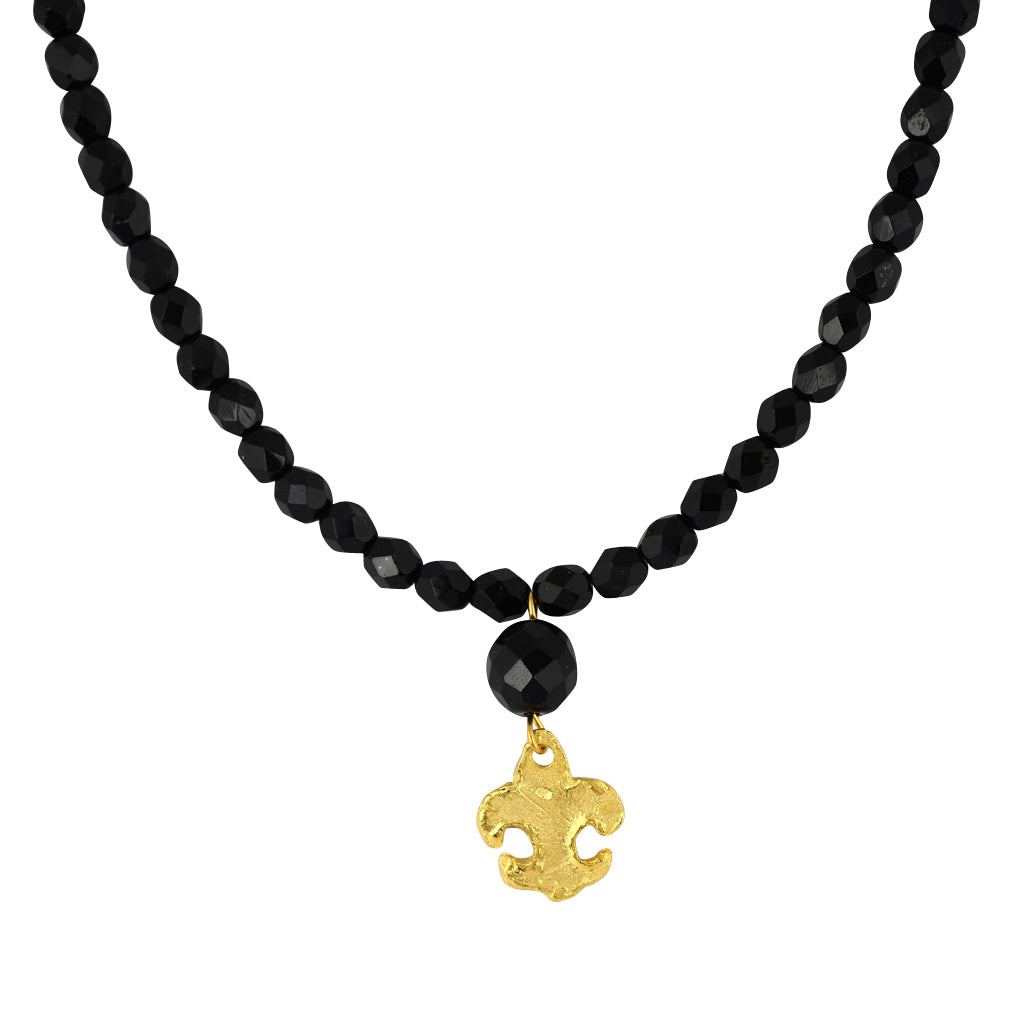 Susan Shaw Jewelry Black Fleur De Lis Necklace in Gold