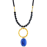 Susan Shaw Jewelry Blue Pendant Necklace in Gold