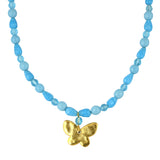 Susan Shaw Jewelry Blue Butterfly Bead Necklace in Gold