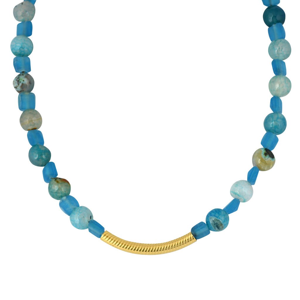 Susan Shaw Jewelry Blue Bead Necklace in Gold