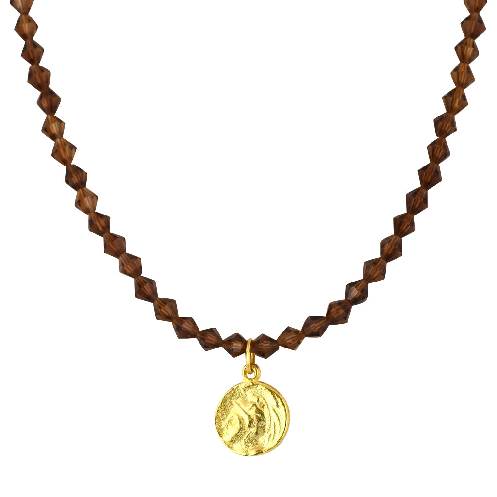 Susan Shaw Jewelry Brown Bead Greek Coin Necklace in Gold