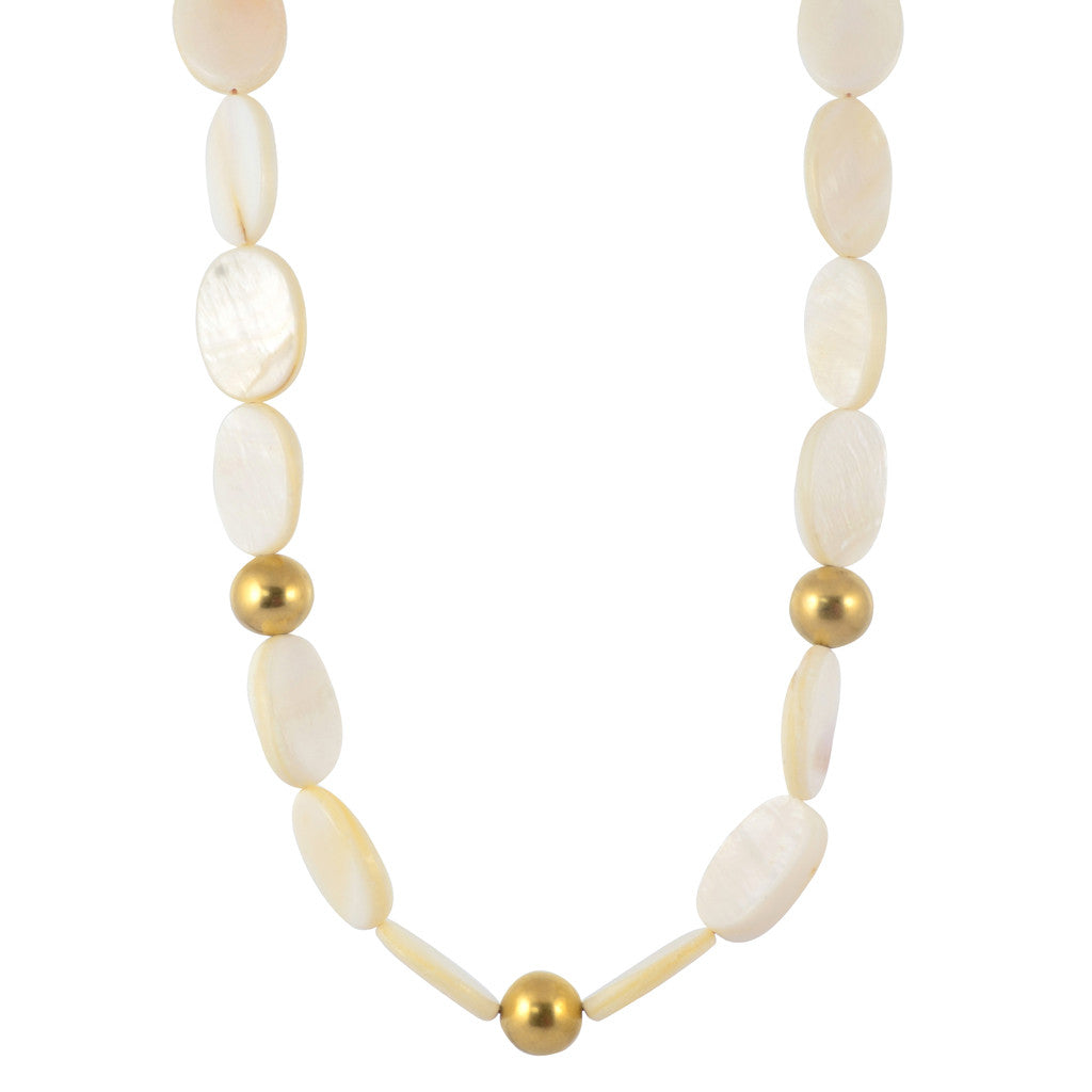 Susan Shaw Gold Plated Flat White Necklace, 18""