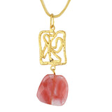 Susan Shaw Jewelry Rose Pendant Necklace in Gold