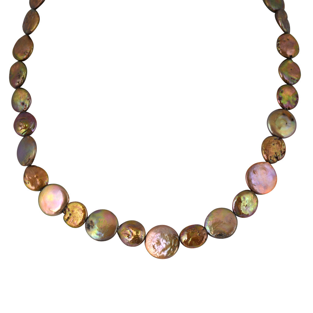 Susan Shaw Jewelry Iridescent Bead Necklace in Gold
