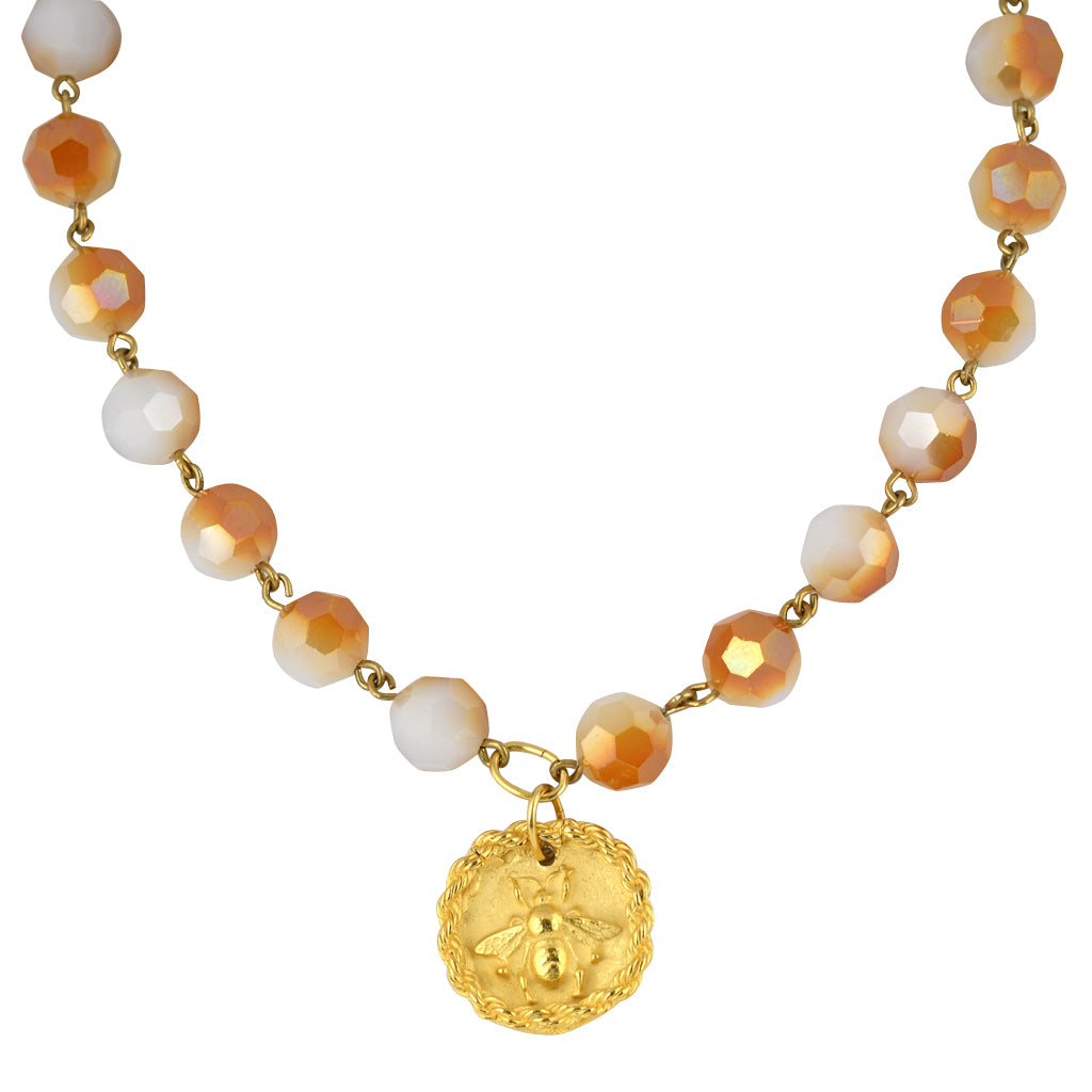 Susan Shaw Jewelry Bee Bead Necklace in Gold