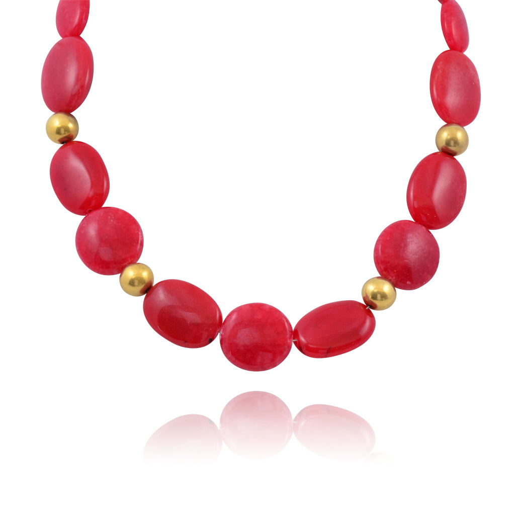 Susan Shaw Red Bead Necklace, Gold Plated Necklace, 16+3""