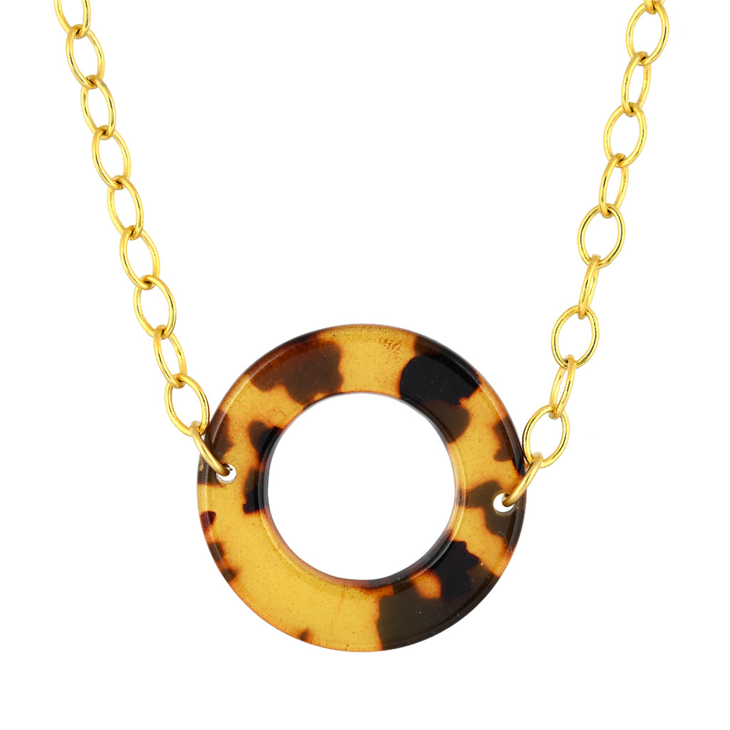 Susan Shaw Jewelry Round Faux Tortoise Necklace in Gold