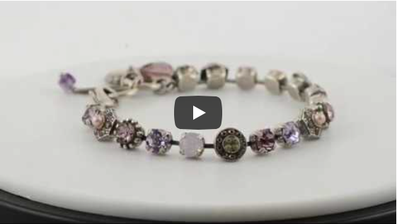 Mariana Jewelry Elizabeth Silver Plated Swarovski Crystal Geometric Flower Tennis Bracelet with Heart Pendant