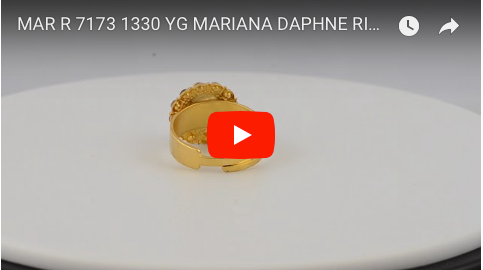 Mariana Jewelry Gold Plated Daphne Swarovski Crystal Adjustable Flower Dome Ring