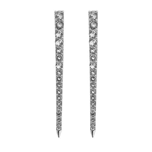 Stella Valle Women Warriors Achieve Engraved Dagger Earrings, Silver Plated with Swarovski Crystal