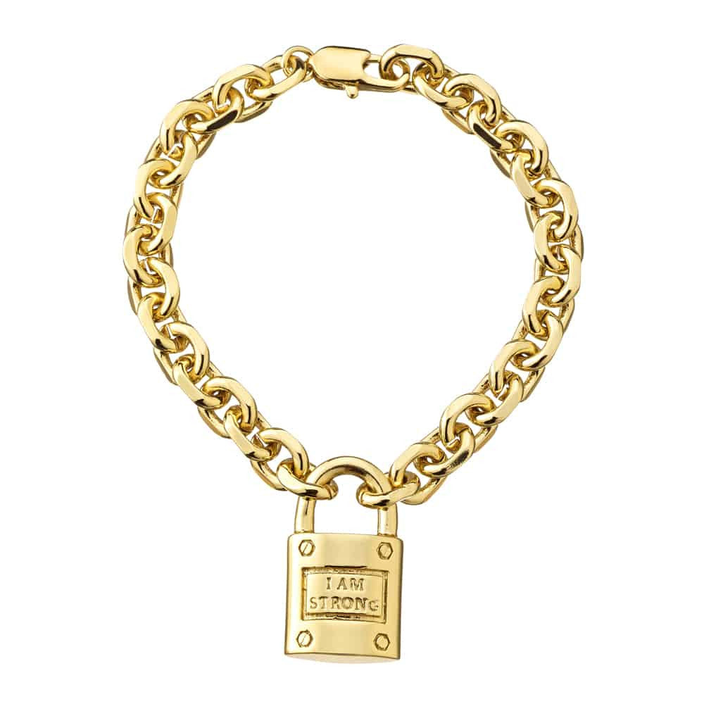 Stella Valle Women Warriors I am Strong Engraved Link Bracelet, Gold Plated