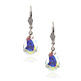 Victoria Crystal Teardrop Earrings, Silver Plated French Leverback Drop with AB Crystal