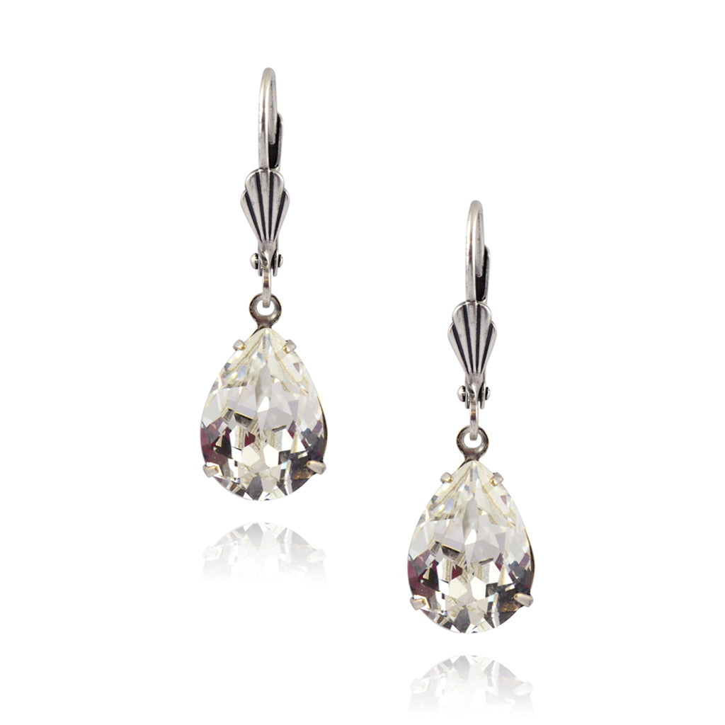 Victoria Crystal Teardrop Earrings, Silver Plated French Leverback Drop with Clear Crystal