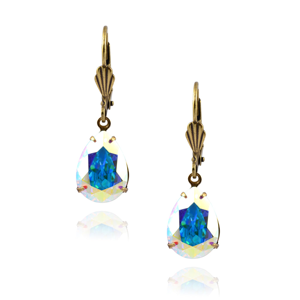 Victoria Crystal Teardrop Earrings, Gold Plated French Leverback Drop with AB Crystal