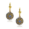 Victoria Crystal Round Earrings, Gold Plated Leverback Drop with Blue Crystal