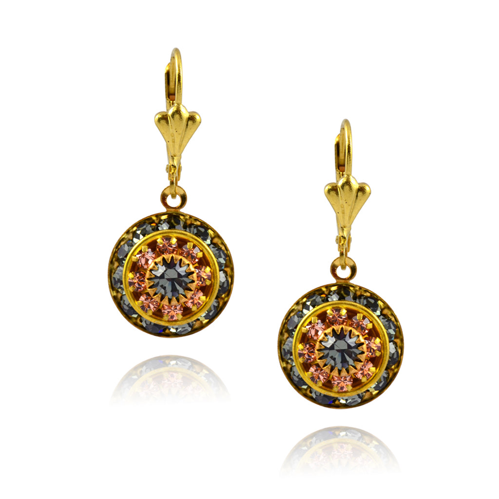 Victoria Crystal Round Earrings, Gold Plated Leverback Drop with Gray/Peach Crystal