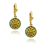 Victoria Crystal Round Earrings, Gold Plated Leverback Drop with Green Crystal
