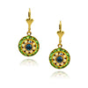 Victoria Crystal Round Earrings, Gold Plated Leverback Drop with Green/Blue Crystal