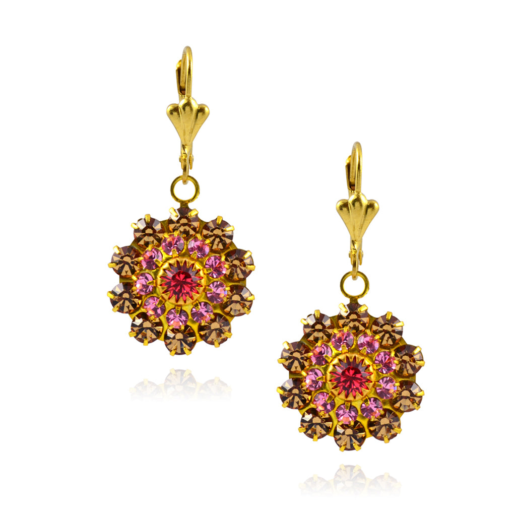 Victoria Crystal Flower Earrings, Gold Plated Leverback Drop with Pink Crystal
