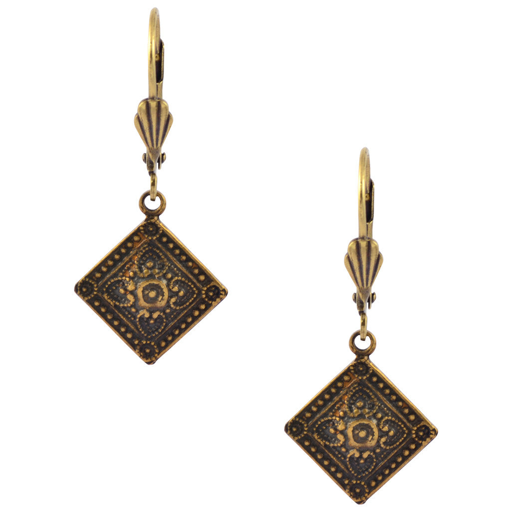 Victoria Square Ornate Dangle Earrings, Antique Stamped Design, Brass