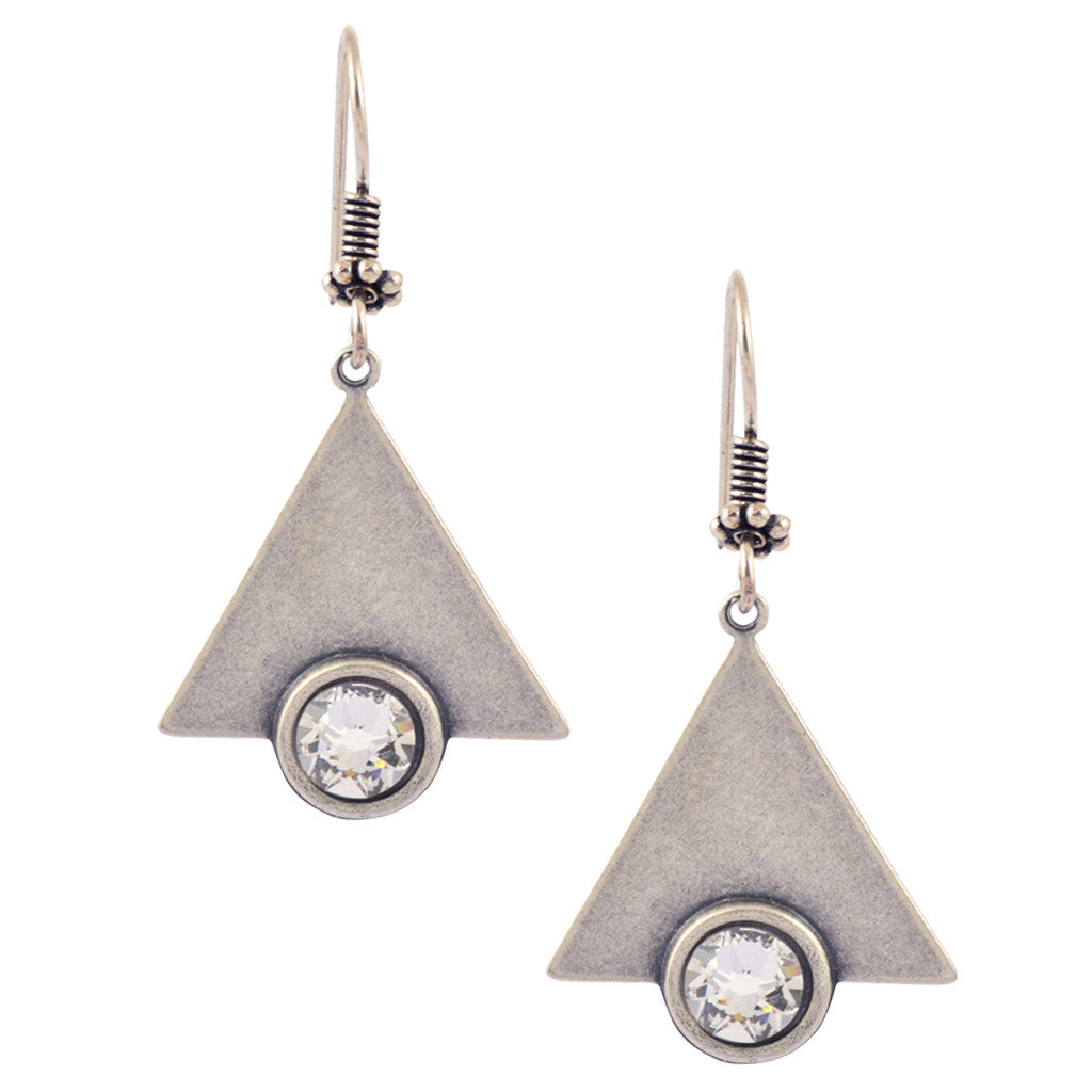 Victoria Crystal Triangle Dangle Earrings, Antique Design, Silver Plated