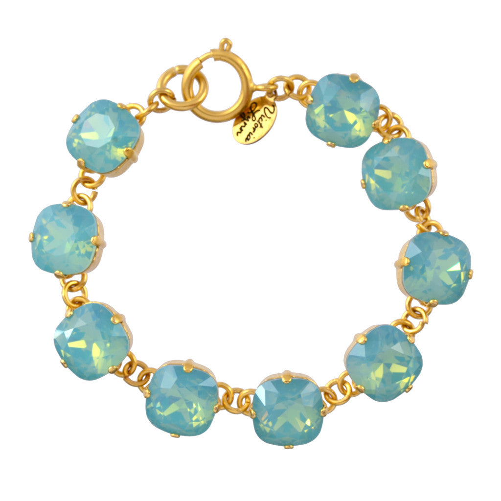 Victoria Lynn Rounded Square Tennis Bracelet with Pacific Opal Swarovski Crystal, Gold Plated