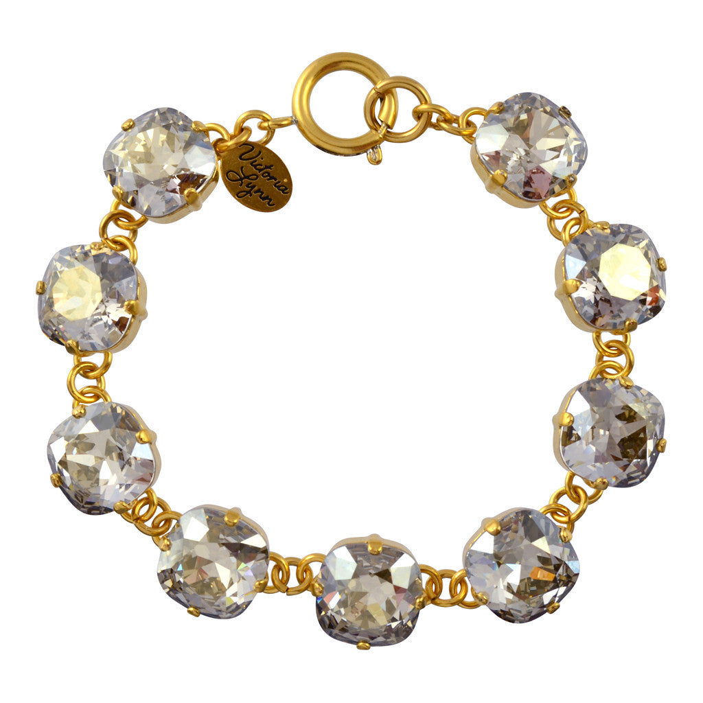 Victoria Lynn Rounded Square Tennis Bracelet with Silver Shade Swarovski Crystal, Gold Plated