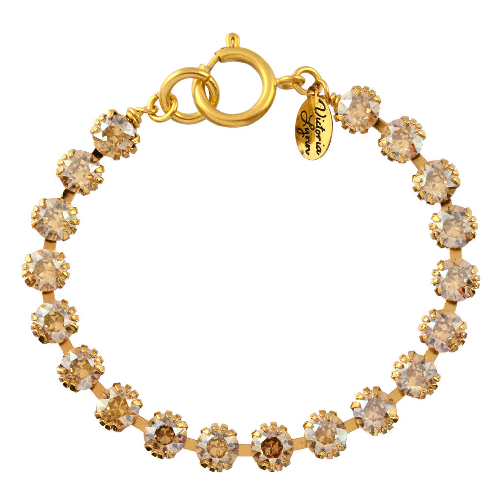 f32dfa635e5e4 Victoria Lynn Small Cup Chain Bracelet with Golden Shadow Swarovski  Crystal, Gold Plated