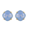 Victoria Lynn Stud Earrings with Air Blue Opaque Swarovski Crystal, Gold Plated