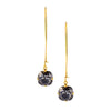 Victoria Lynn Long Earwire Dangle Earrings in Black Patina Swarovski Crystal, Gold Plated