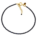 Victoria Lynn Sea Jasper Choker Necklace with Jet Swarovski Crystal, Gold Plated