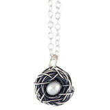The Vintage Pearl Messy Nest 1 Pearl Necklace, Silver Plated