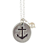 The Vintage Pearl Refuse to Sink Anchor Pearl Necklace, Silver Plated