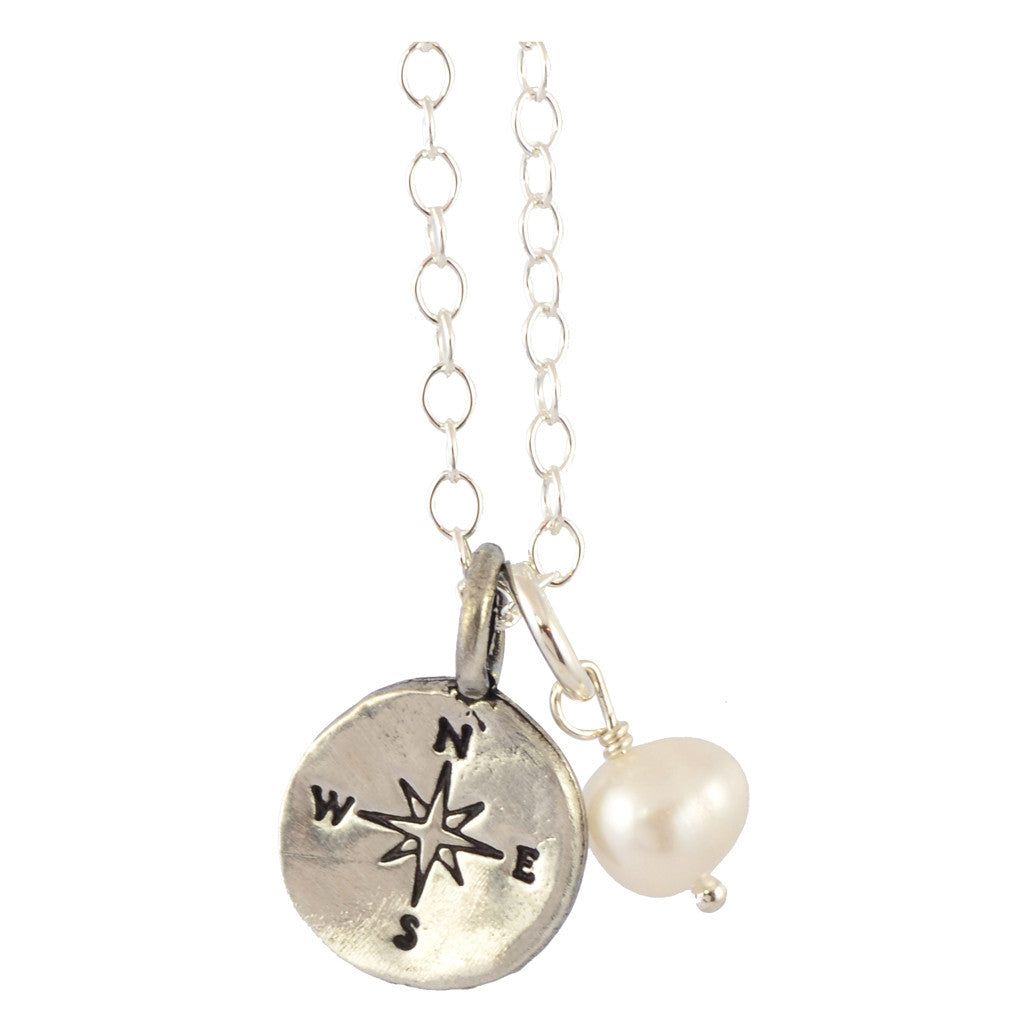 The Vintage Pearl Life is a Journey Compass Pearl Necklace, Silver Plated