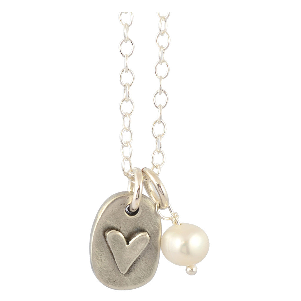 The Vintage Pearl Love Bears All Things Heart Pearl Necklace, Silver Plated
