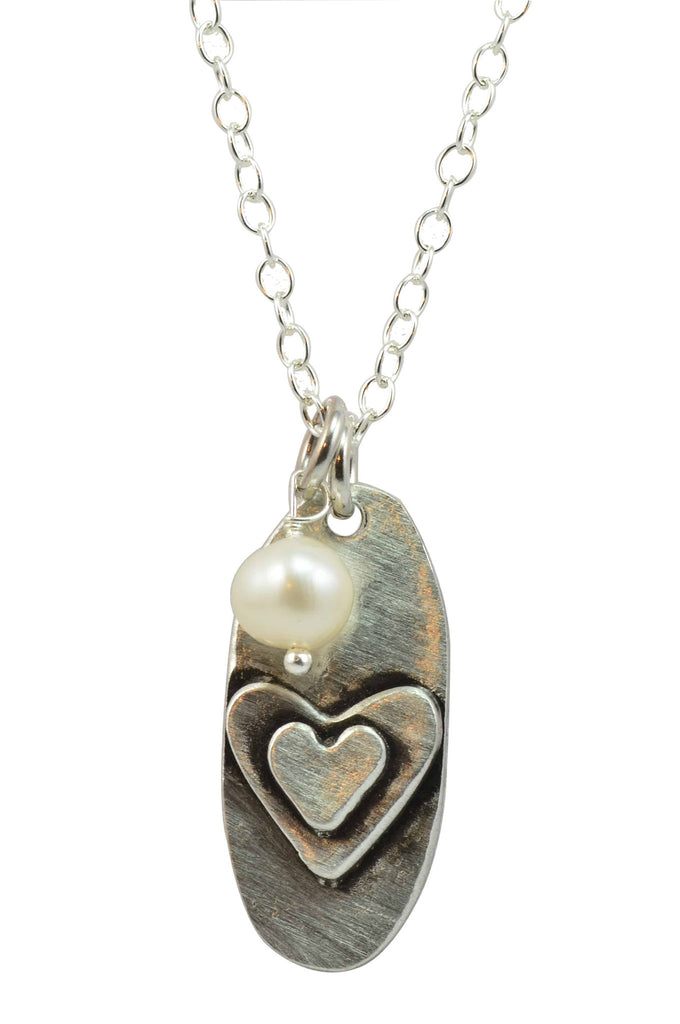 Vintage Pearl Layered Love Pewter Handformed Hearts Charm on Silver Plated Ball Chain with Fresh Water Pearl