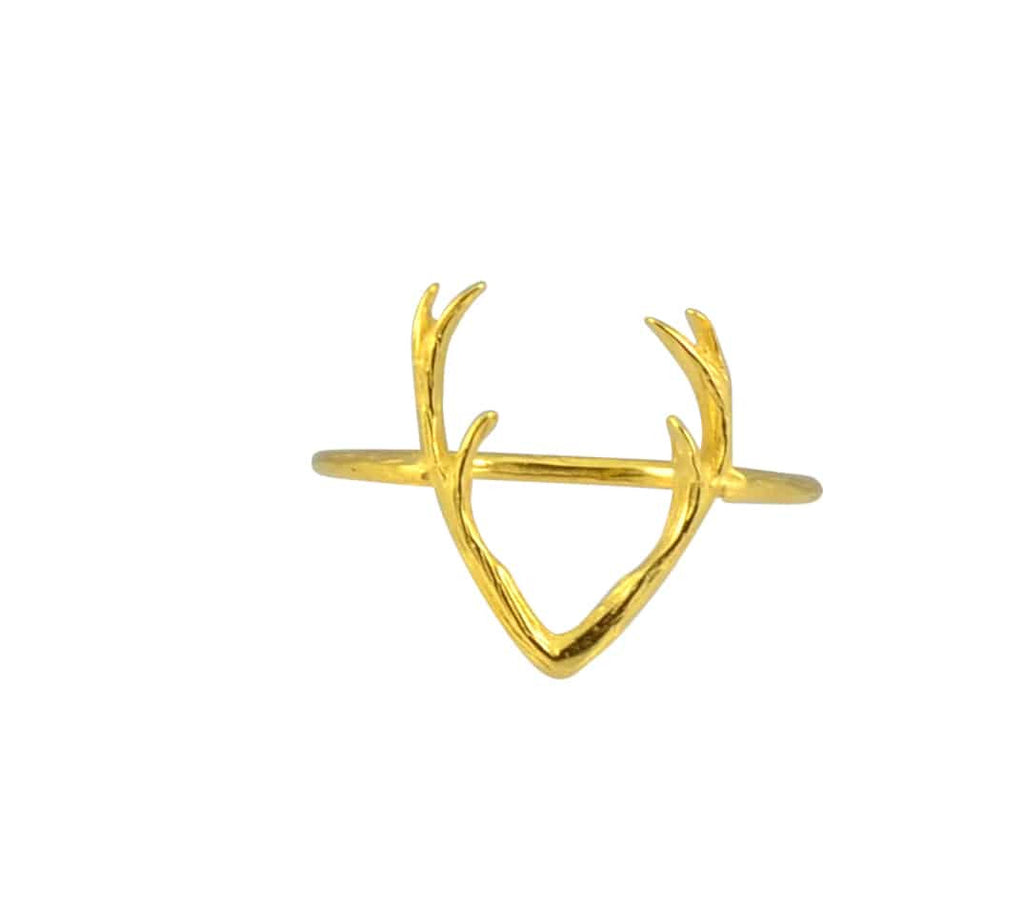 Zenzii Deer Antler Rack Ring, Goldtone Approx Size 7