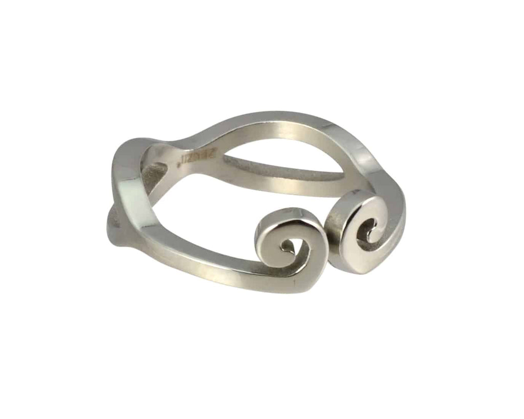 Zenzii Double Swirls and Twirls Ring, Silvertone Size 6