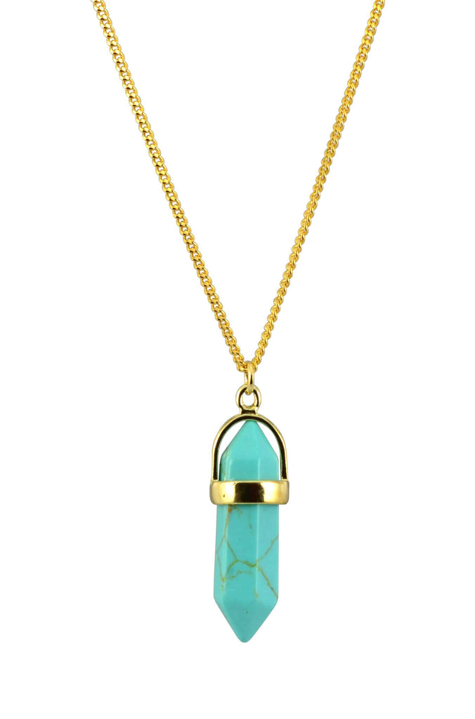 Zenzii Teal Stone Pendant Necklace, Goldtone, 16+3