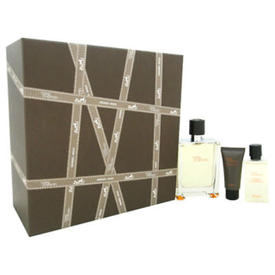 Terre D'Hermes Men EDT Spray 3.3 oz +  Balm 0.5 + Shower Gel  1.35 - GIFT SET - Cosmic-Perfume