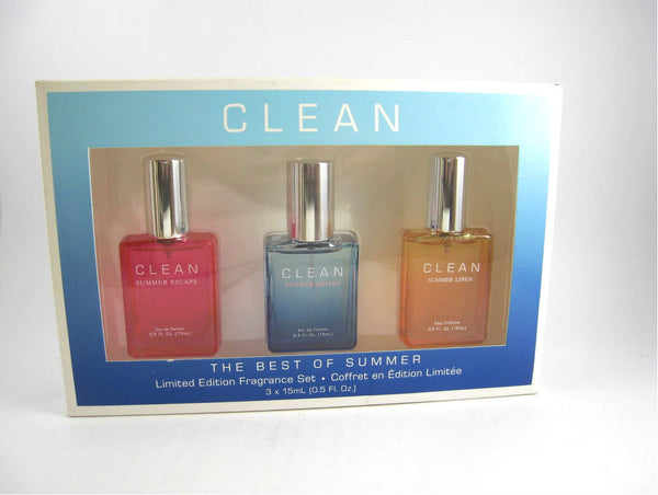 Clean 'The Best of Summer' Ltd Edition Set 3 x 0.5 oz Spray - Imperfect Packaging - Discount Fragrance at Cosmic-Perfume